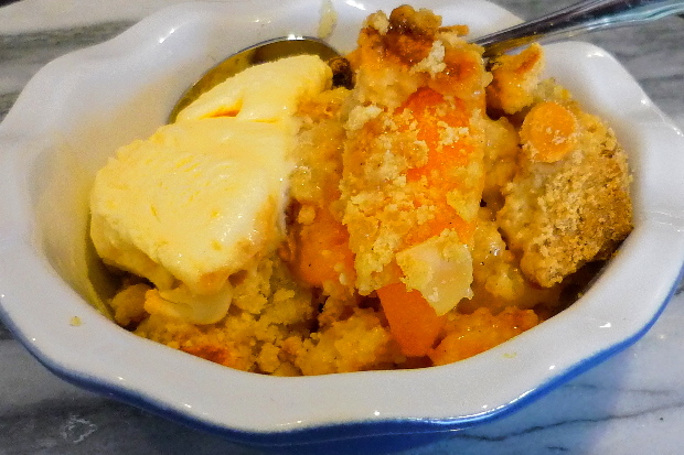 Peach and Apple Crumble with Ice-cream