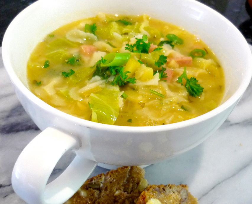 Cabbage Soup with Smoked Ham and Tripolini