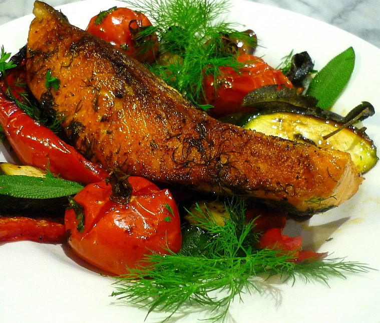Salmon with Roasted Mediterranean Vegetables