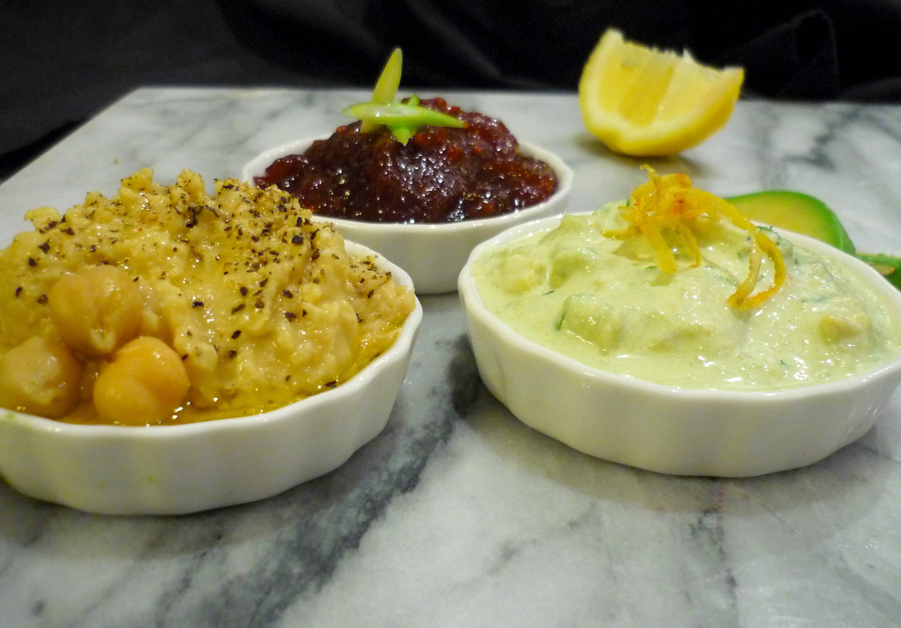 Trio of Dips - Avocado, Hummus and Beetroot Relish
