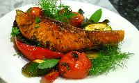 Baked Salmon with Slow Roasted Mediterranean Vegetables